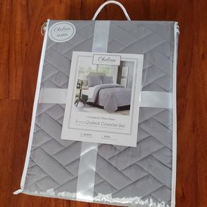 New Chelsea Queen 3pc Grey Quilted Coverlet Set